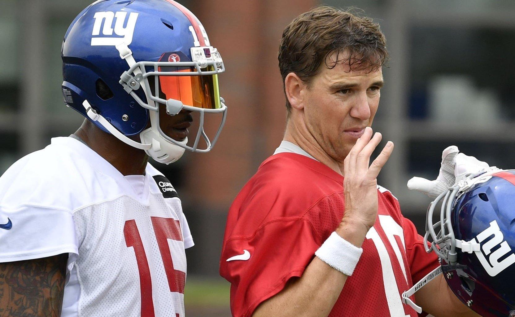 Brandon Marshall e Eli Manning, do New York Giants