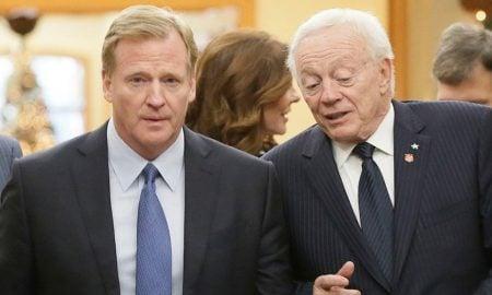 Roger Goodell, comissário da NFL, e Jerry Jones, proprietário do Dallas Cowboys