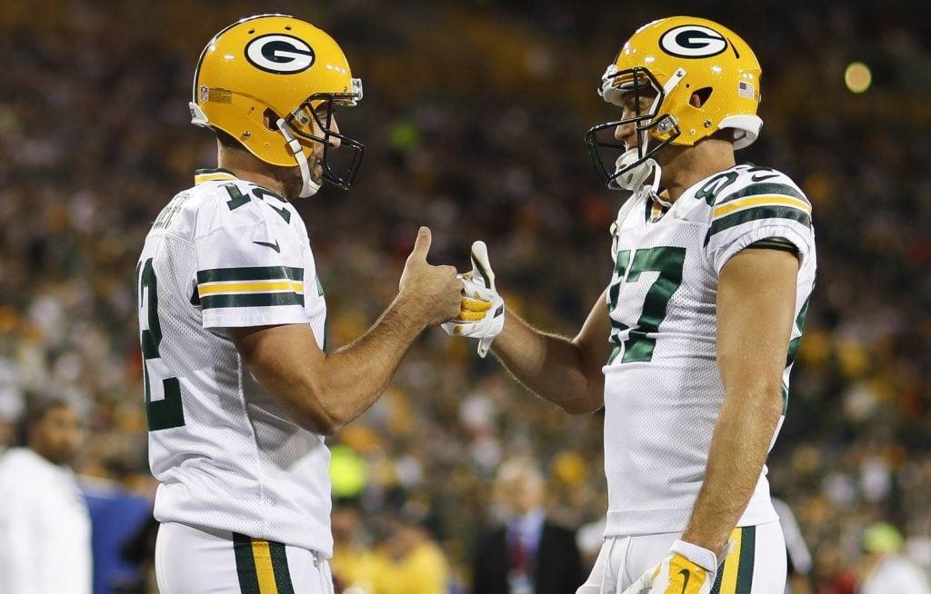 Aaron Rodgers, quarterback do Green Bay Packers, e Jordy Nelson