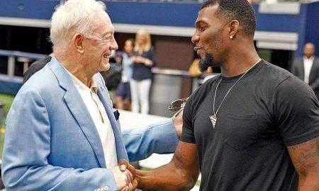 Jerry Jones, proprietário e general manager do Dallas Cowboys, e o wide receiver Dez Bryant