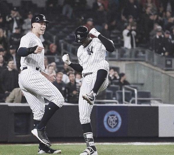 Didi Gregorius e Aaron Judge, jogadores do New York Yankees, time da MLB