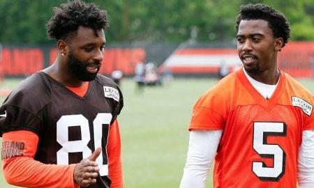 Jarvis Landry e Tyrod Taylor, wide receiver e quarterback do Cleveland Browns