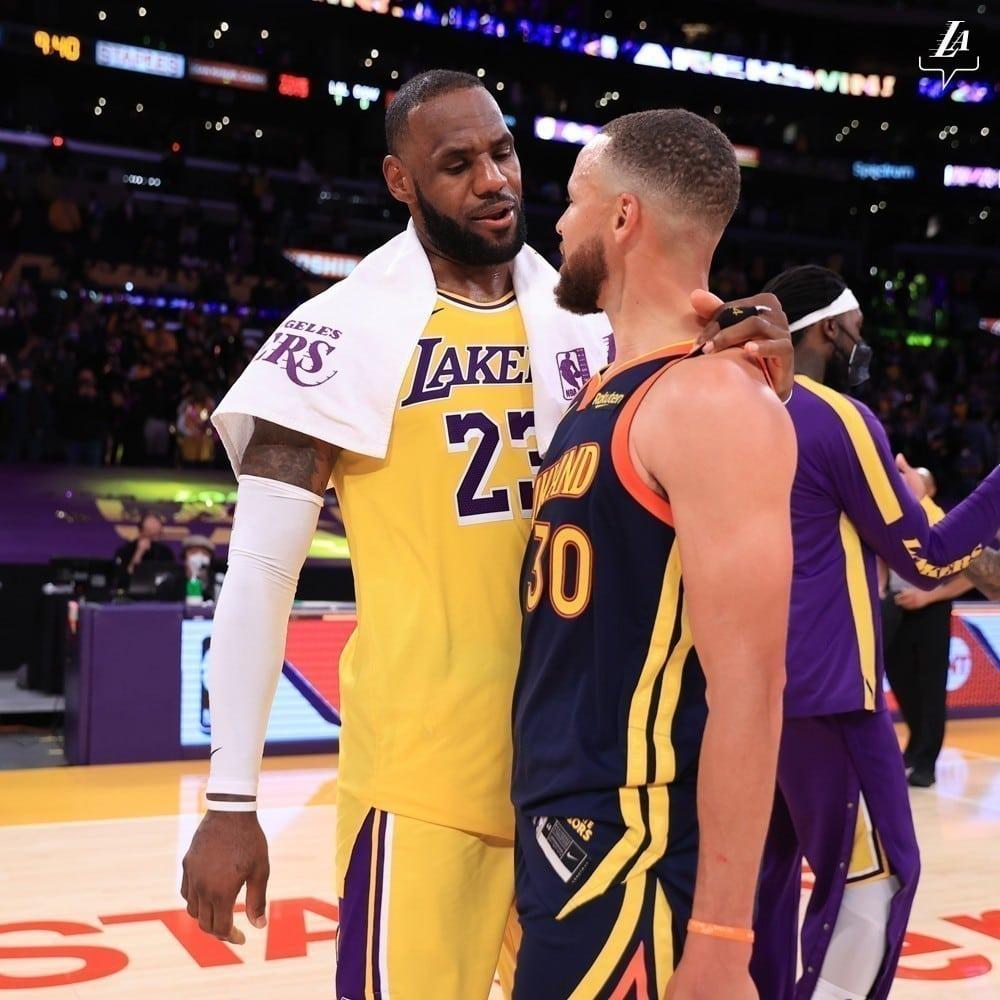 LeBron James e Stephen Curry (Foto: Divulgação/Los Angeles Lakers)